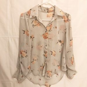 About a Girl Floral  Sheer Top size Medium